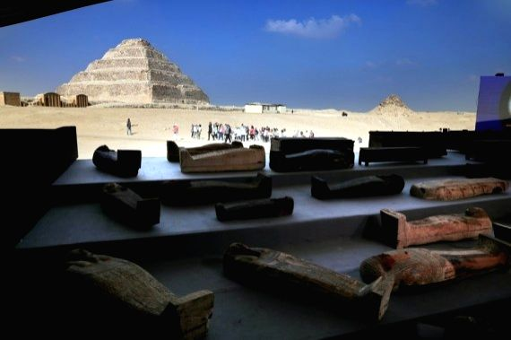 Ancient coffins are seen on the site of the discovery, near the Step Pyramid of Djoser in Giza province, Egypt, on Nov. 14, 2020. (Xinhua/Ahmed Gomaa)