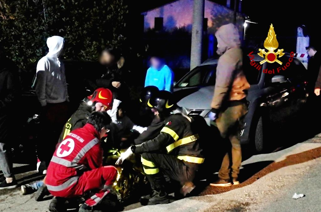 ANCONA, Dec. 8, 2018 (Xinhua) -- Rescuers work outside of a nightclub near the city of Ancona, Italy, on Dec. 8, 2018. At least six people were killed and more than 100 others injured on Saturday in a stampede during a concert in central Italy, local