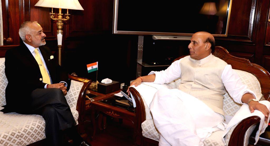 Andaman and Nicobar Islands Lieutenant Governor Admiral (Retd.) D.K. Joshi calls on Union Home Minister Rajnath Singh in New Delhi on Oct 11, 2017. - Rajnath Singh and K. Joshi