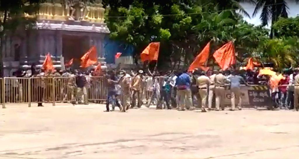 Andhra police check posts monitor movement towards Antarvedi.