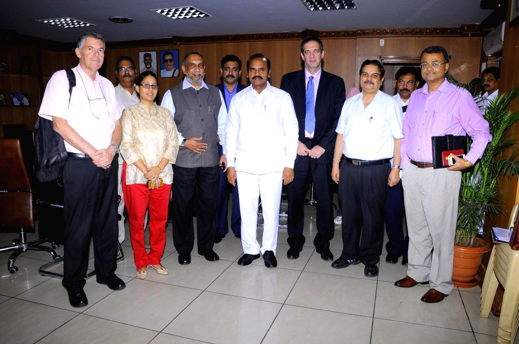 Andhra Pradesh Agriculture Minister Prathipati Pulla Rao with an Israeli delegation during a meeting in Hyderabad on July 8, 2014. - Prathipati Pulla Rao