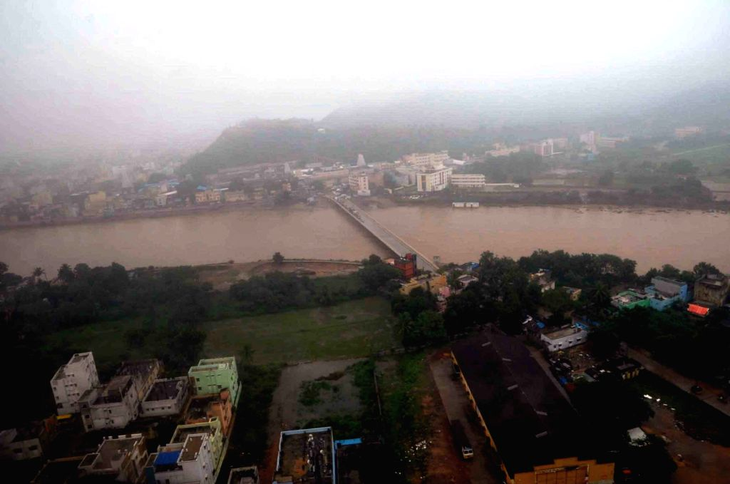 Andhra Pradesh: An aerial view of the flood affected areas of the Andhra Pradesh on Nov 18, 2015.