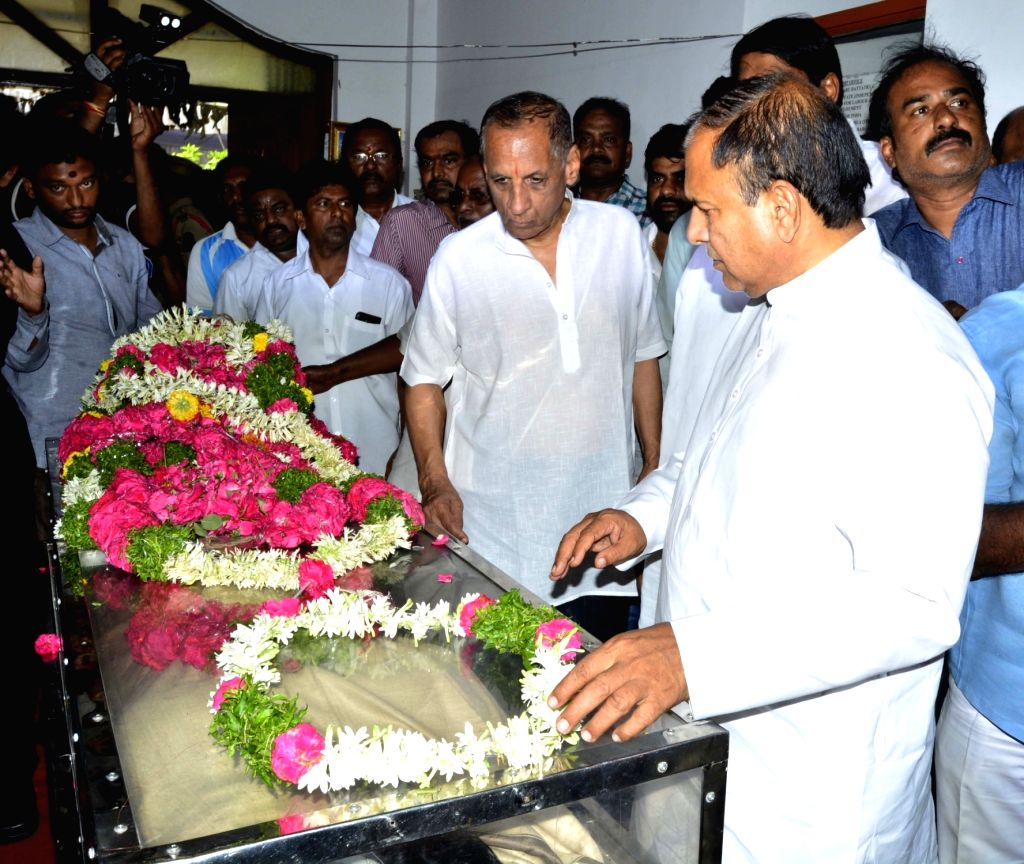 Andhra Pradesh and Telangana Governor E. S. L. Narasimhan pays his last respects to the mortal remains of Bandaru Vaishnav, son of former Union Minister and BJP leader Bandaru Dattatreya, ...