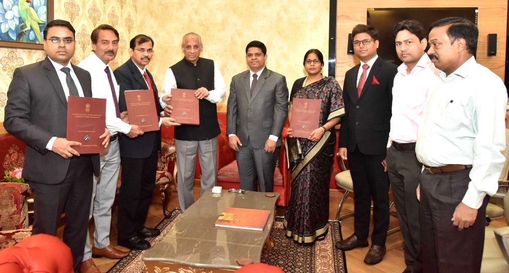 Andhra Pradesh Chief Electoral Officer Gopalakrishna Dwivedi and Election Commission of India, Principal Secretary S K Rudola submits the list of elected representatives of Andhra Pradesh ... - Vivek Yadav