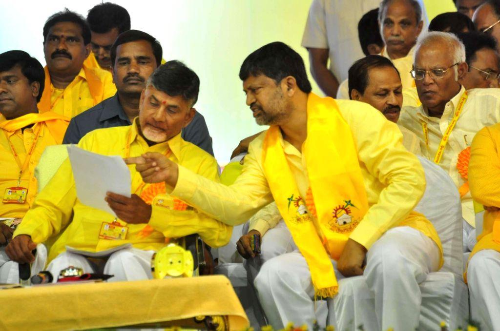 Andhra Pradesh Chief Minister and TDP chief N Chandrababu Naidu during Telugu Desam Party's 'Mahanadu' -mega-convention- in Tirupathi on May 28, 2016. - N Chandrababu Naidu