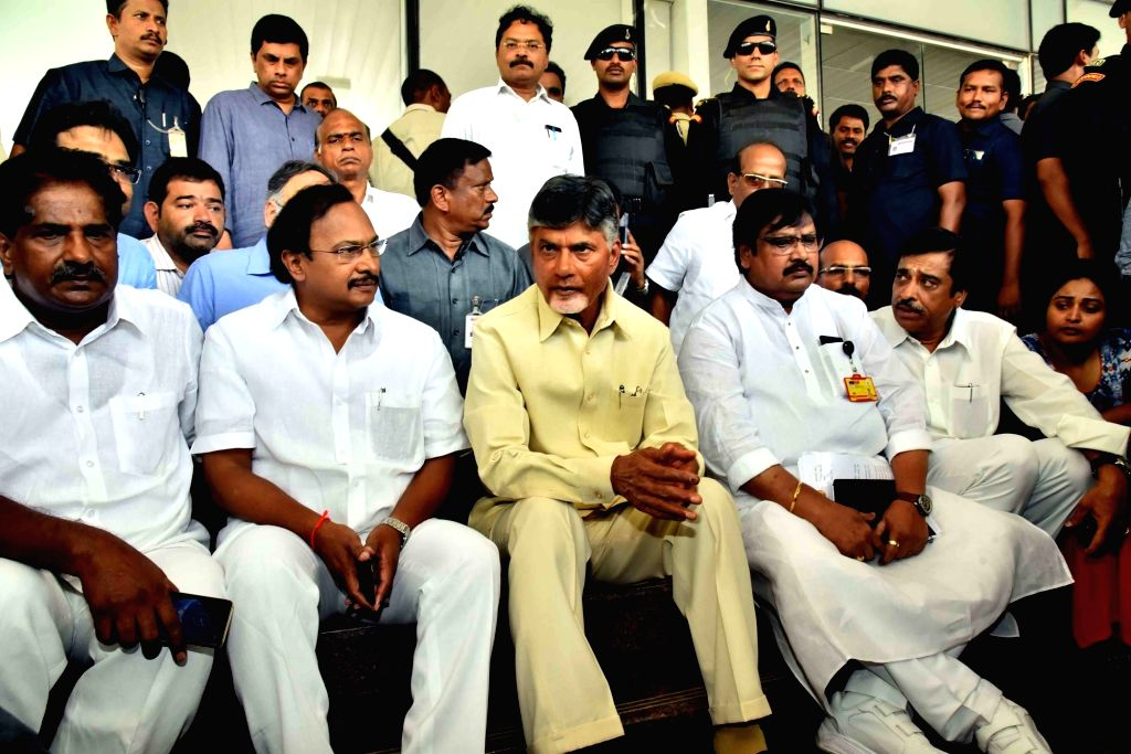 Andhra Pradesh Chief Minister and TDP President N. Chandrababu Naidu stage a sit-in demonstration to protest against the Election Commission 'bias' in transferring election officials and ... - N. Chandrababu Naidu