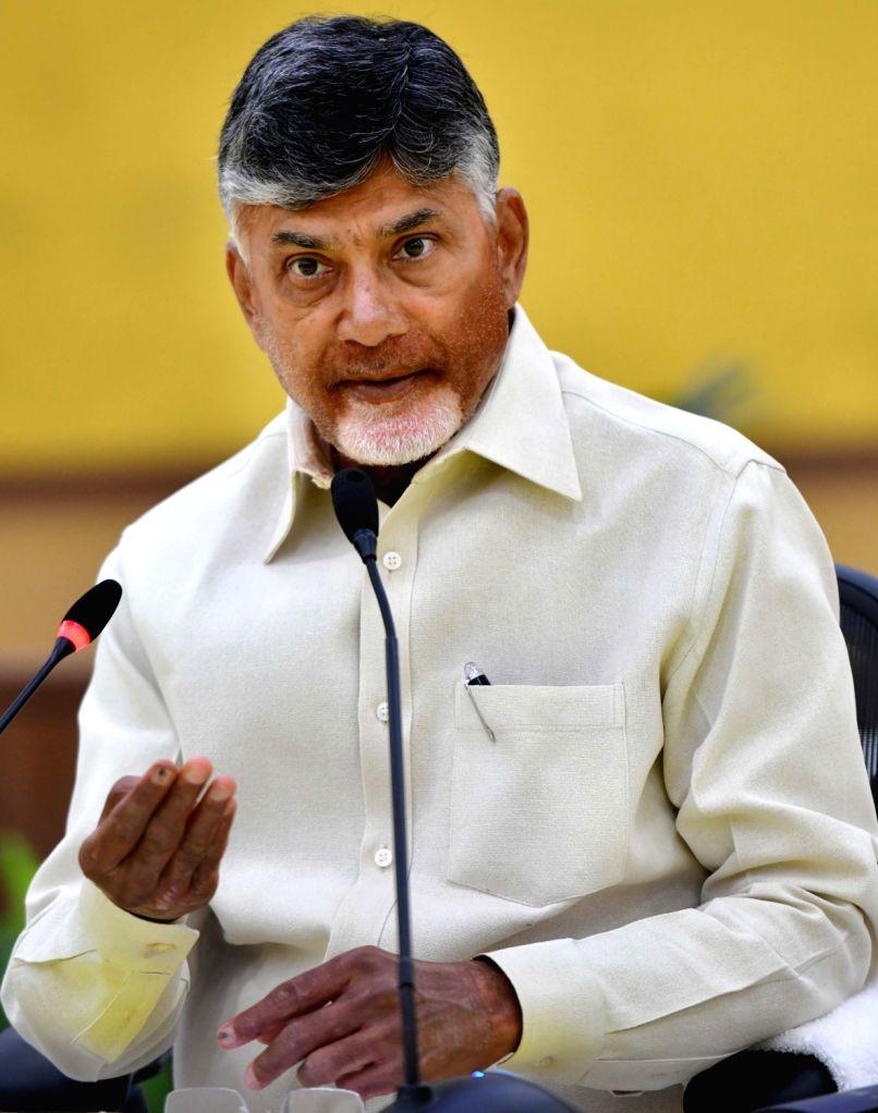 Andhra Pradesh Chief Minister and TDP President N. Chandrababu Naidu addresses a press conference in Undavalli, Andhra Pradesh on May 20, 2019. - N. Chandrababu Naidu