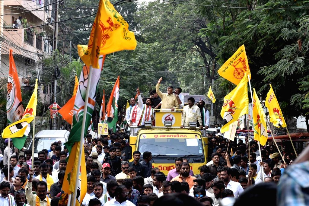 Andhra Pradesh Chief Minister and TDP supremo N. Chandrababu Naidu during a roadshow in Hyderabad on Dec 3, 2018. - N. Chandrababu Naidu