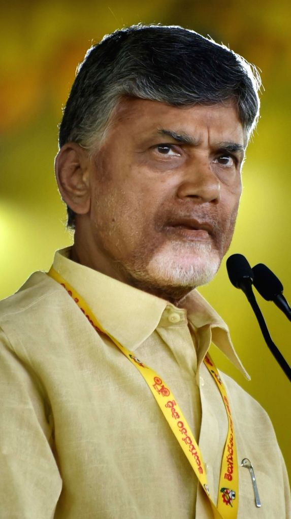 Andhra Pradesh Chief Minister and Telegu Desam Party (TDP) chief N. Chandrababu Naidu during 'Dharma Porata Deeksha', in Ongole of Andhra Pradesh's Prakasam district on July 28, 2018. - N. Chandrababu Naidu