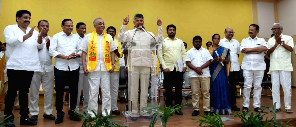 Andhra Pradesh Chief Minister and Telegu Desam Party (TDP) Chief N Chandrababu Naidu addresses during a party meeting in Vijayawada on Feb 24, 2019. - N Chandrababu Naidu