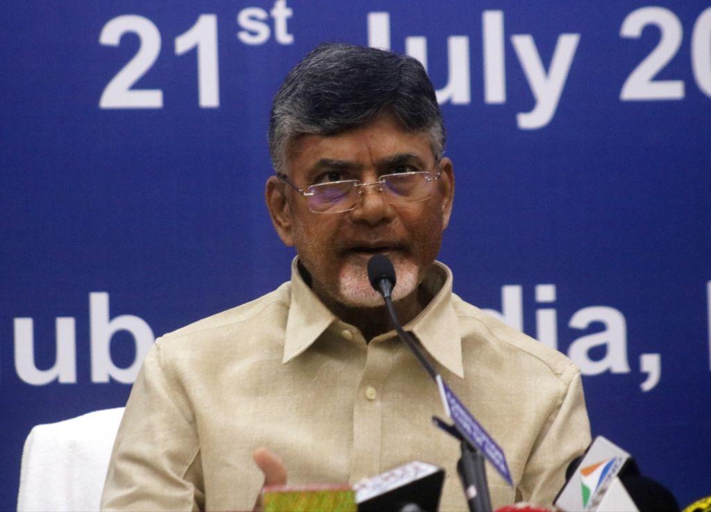 Andhra Pradesh Chief Minister and Telugu Desam Party (TDP) chief N. Chandrababu Naidu addresses a press conference, in New Delhi on July 21, 2018. - N. Chandrababu Naidu