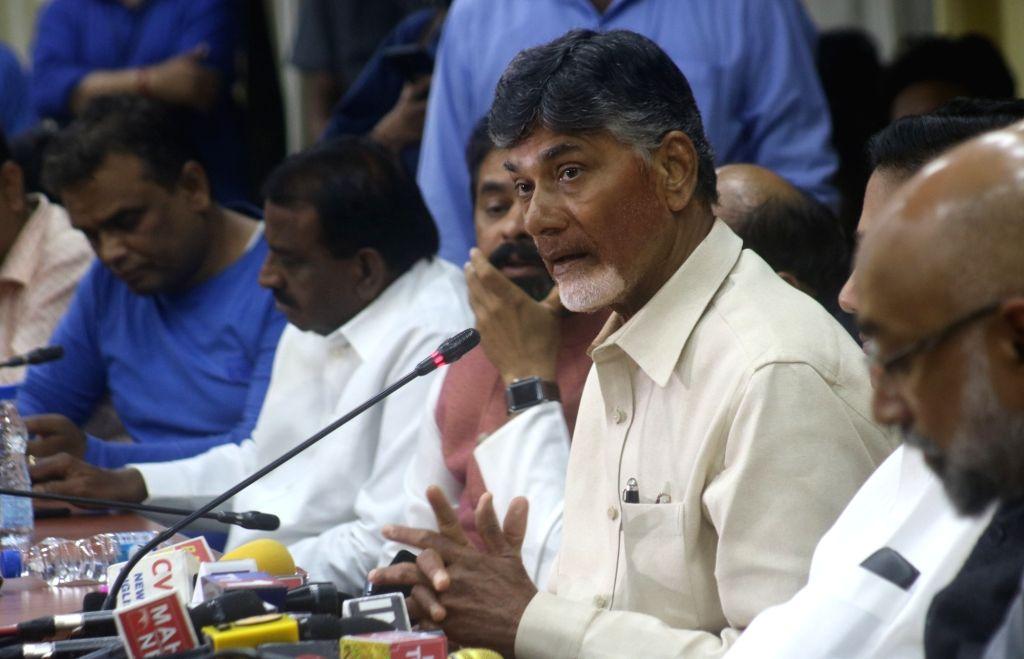 Andhra Pradesh Chief Minister and Telugu Desam Party (TDP) chief N. Chandrababu Naidu addresses a press conference in New Delhi on Nov 1, 2018. - N. Chandrababu Naidu