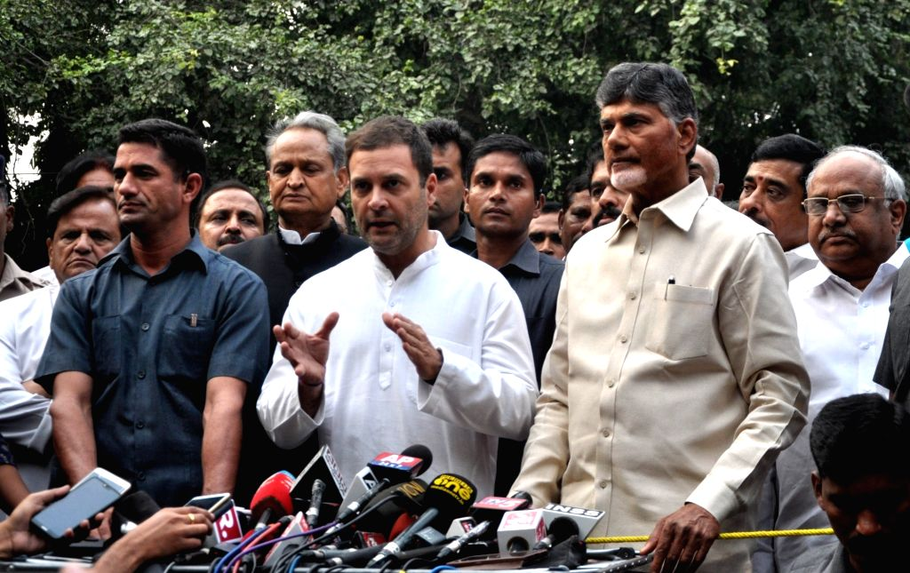 Andhra Pradesh Chief Minister and Telugu Desam Party (TDP) chief N. Chandrababu Naidu and Congress president Rahul Gandhi talk to press after a meeting in New Delhi on Nov. 1, 2018. - N. Chandrababu Naidu and Rahul Gandhi
