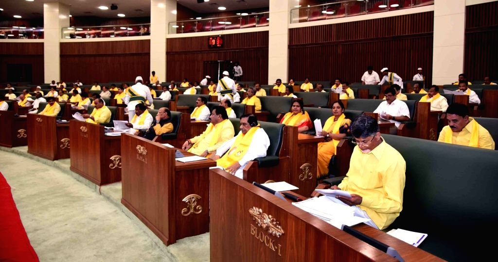 Andhra Pradesh Chief Minister and Telugu Desam Party (TDP) President N. Chandrababu Naidu with the party's legislators during the joint session of the state Legislative Assembly and ... - N. Chandrababu Naidu