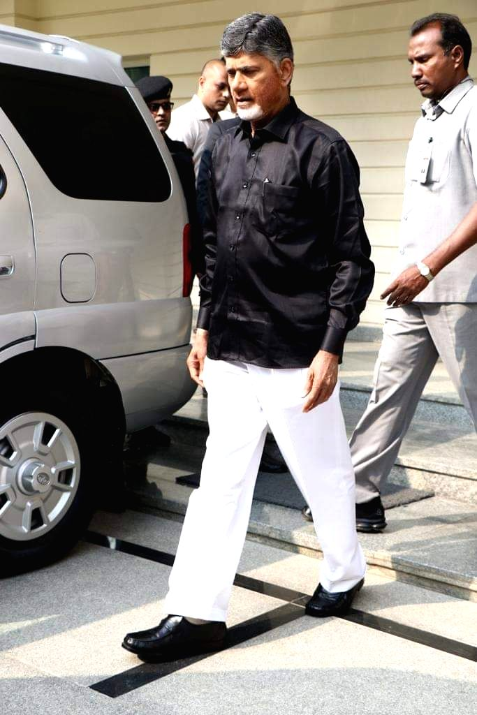 """Andhra Pradesh Chief Minister and Telugu Desam Party (TDP) President N. Chandrababu Naidu arrives at the state assembly wearing black shirt to protest against the Centre's """"step ... - N. Chandrababu Naidu"""