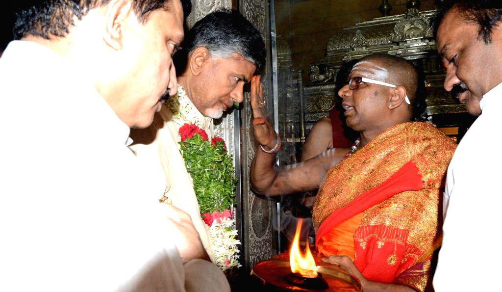 Andhra Pradesh Chief Minister N. Chandrababu Naidu offers prayers at Mahakali Temple in Secunderabad on July 13, 2014.