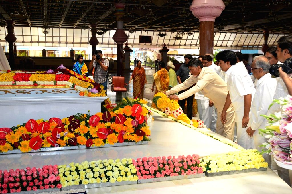 Andhra Pradesh Chief Minister N. Chandrababu Naidu visited Puttaparthi Sai Baba Samadhi in Hyderabad on July 24, 2014.
