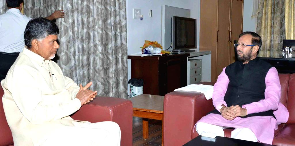 Andhra Pradesh Chief Minister N. Chandrababu Naidu during a meeting with Union Minister of State for Information and Broadcasting (Independent Charge), Environment, Forest and Climate Change ... - N. Chandrababu Naidu