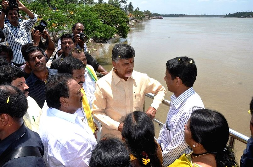Andhra Pradesh Chief Minister N. Chandrababu Naidu visits at Rajahmundry in Andhra Pradesh on July 2, 2015.