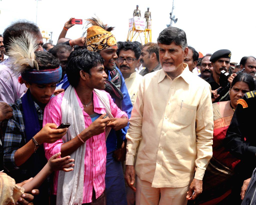 Andhra Pradesh Chief Minister N. Chandrababu Naidu visits Kovvur Goshpada Ghat on July 16, 2015. - N. Chandrababu Naidu