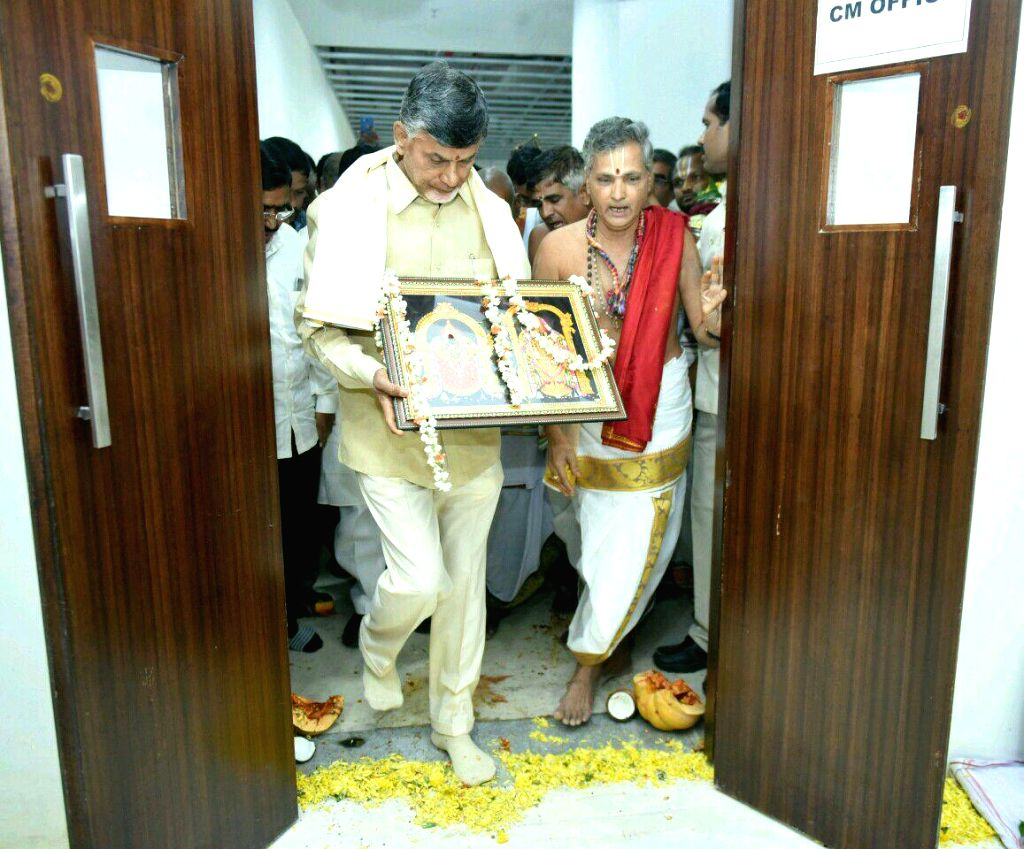 Andhra Pradesh Chief Minister N. Chandrababu Naidu at the inauguration of his new office at Velagapudi in Amaravati of Andhra Pradesh on Oct 12, 2016. - N. Chandrababu Naidu
