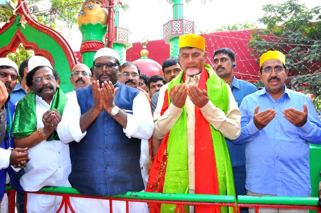 Andhra Pradesh Chief Minister N Chandrababu Naidu participate in Rottela Panduga (Rotiyaan ki eid) at Bara Shaheed Dargah in Nellore of Andhra Pradesh on Oct 13, 2016. - N Chandrababu Naidu