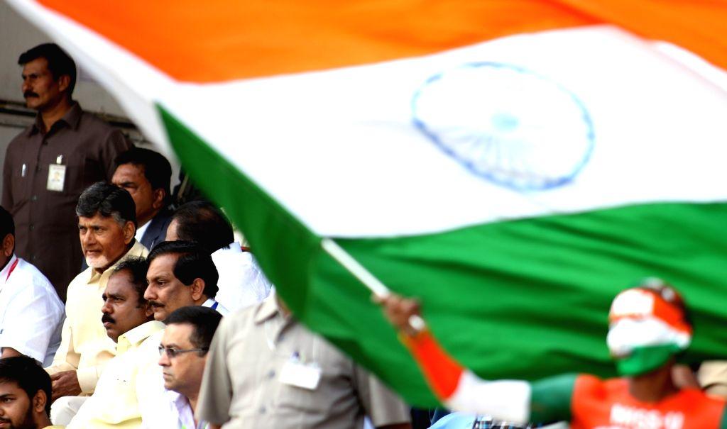Andhra Pradesh Chief Minister N. Chandrababu Naidu watching the match during the 2nd Test match between India and England in Visakhapatnam on Nov 17, 2016. - N. Chandrababu Naidu