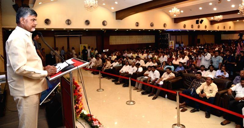 Andhra Pradesh Chief Minister N. Chandrababu Naidu addresses during a programme in Vijayawada on May 31, 2017. - N. Chandrababu Naidu