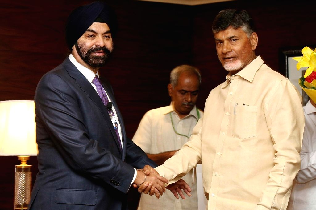 Andhra Pradesh Chief Minister N. Chandrababu Naidu and Mastercard CEO Ajay Banga during a programme organised to sign a Memorandum of Understanding with Andhra Pradesh Electronics IT ... - N. Chandrababu Naidu