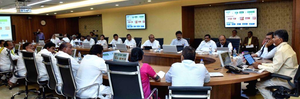 Andhra Pradesh Chief Minister N. Chandrababu Naidu during a cabinet meeting in Vijayawada on Oct 10, 2017. - N. Chandrababu Naidu