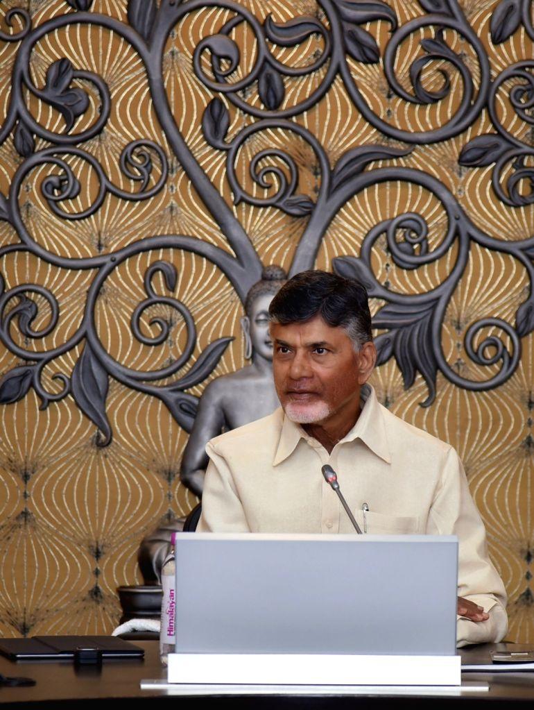 Andhra Pradesh Chief Minister N. Chandrababu Naidu addresses a press conference in Vijayawada on Feb 14, 2018. - N. Chandrababu Naidu