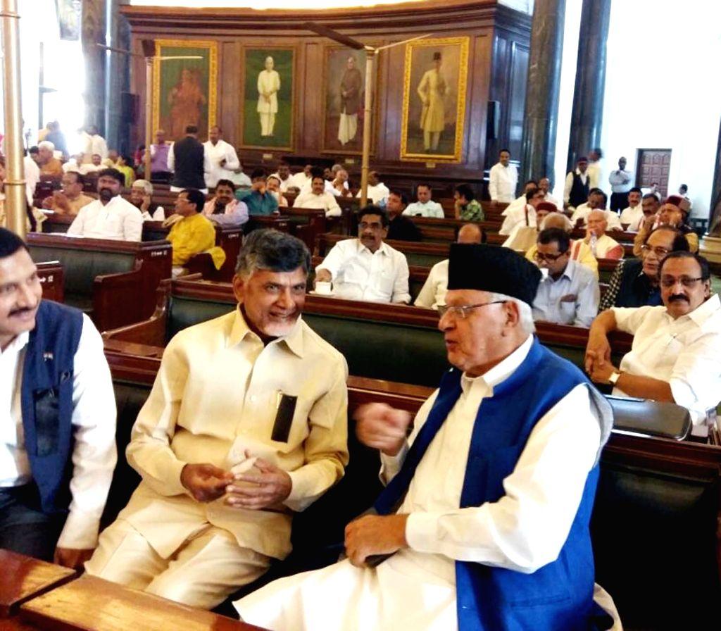 Andhra Pradesh Chief Minister N. Chandrababu Naidu with National Conference President Farooq Abdullah at Parliament in New Delhi on April 3, 2018. - N. Chandrababu Naidu