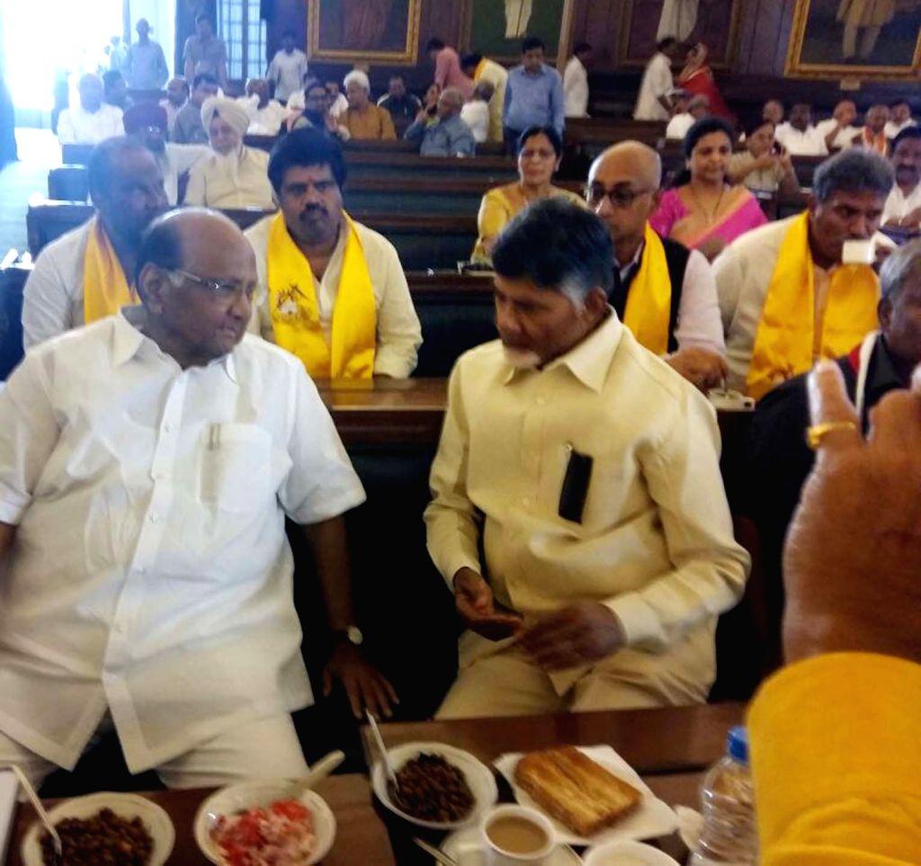 Andhra Pradesh Chief Minister N. Chandrababu Naidu with NCP chief Sharad Pawar at Parliament in New Delhi on April 3, 2018. - N. Chandrababu Naidu