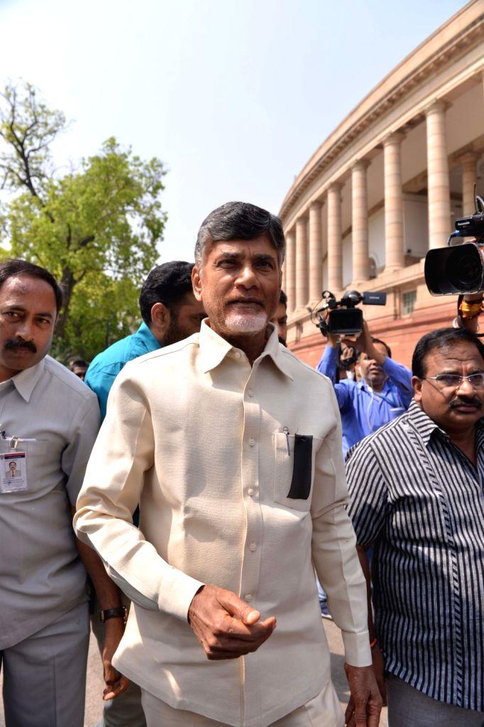 Andhra Pradesh Chief Minister N. Chandrababu Naidu arrives at Parliament in New Delhi on April 3, 2018. - N. Chandrababu Naidu