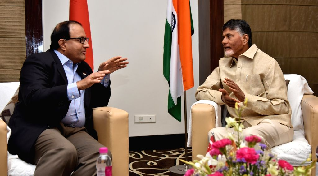 Andhra Pradesh Chief Minister N. Chandrababu Naidu with Singapore's Minister for Trade and Industry S. Eswaran during a Third Joint Implementation Steering Committee meeting in Vijayawada ... - N. Chandrababu Naidu