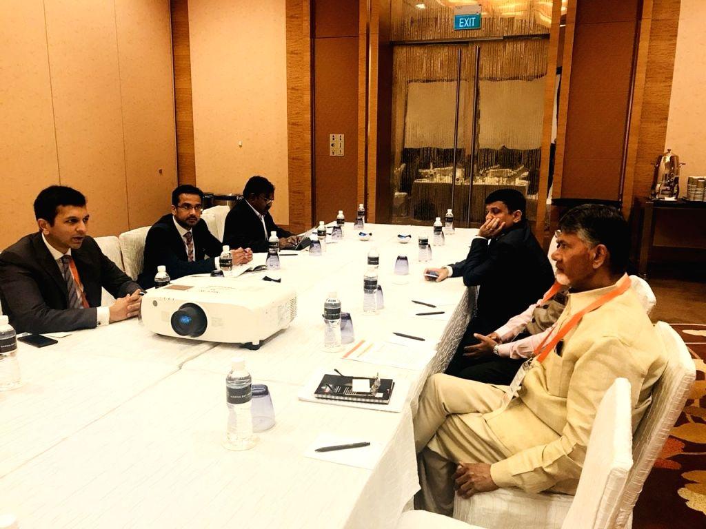 Andhra Pradesh Chief Minister N. Chandrababu Naidu during the World Cities Summit Mayors Forum in Singapore on July 8, 2018. - N. Chandrababu Naidu