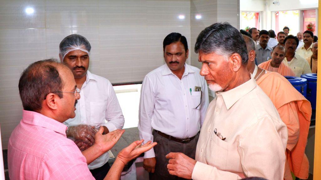 Andhra Pradesh Chief Minister N. Chandrababu Naidu during the inauguration of Annapurna canteen, inVijayawada on July 11, 2018. - N. Chandrababu Naidu