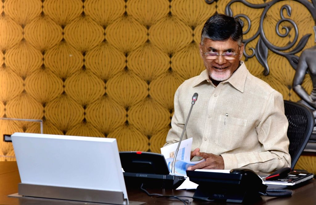 Andhra Pradesh Chief Minister N. Chandrababu Naidu chairs a review meeting on Polavaram Project at the Secretariat, in Vijayawada on July 23, 2018. - N. Chandrababu Naidu