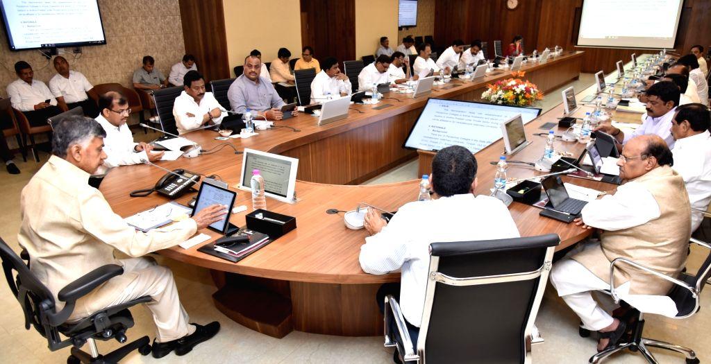 Andhra Pradesh Chief Minister N. Chandrababu Naidu chairs a cabinet meeting at the Secretariat, in Vijayawada on Aug 2, 2018. - N. Chandrababu Naidu