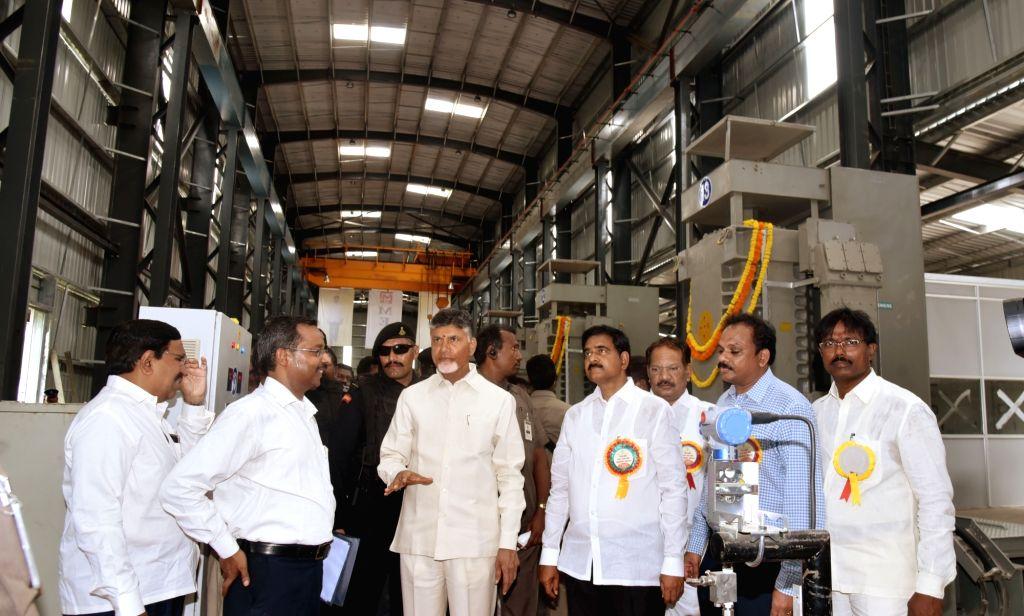 Andhra Pradesh Chief Minister N. Chandrababu Naidu during the inauguration of Kondaveeti Vagu flood water pumping scheme at Undavalli in Andhra Pradesh's Guntur district on Sept 16, 2018. - N. Chandrababu Naidu