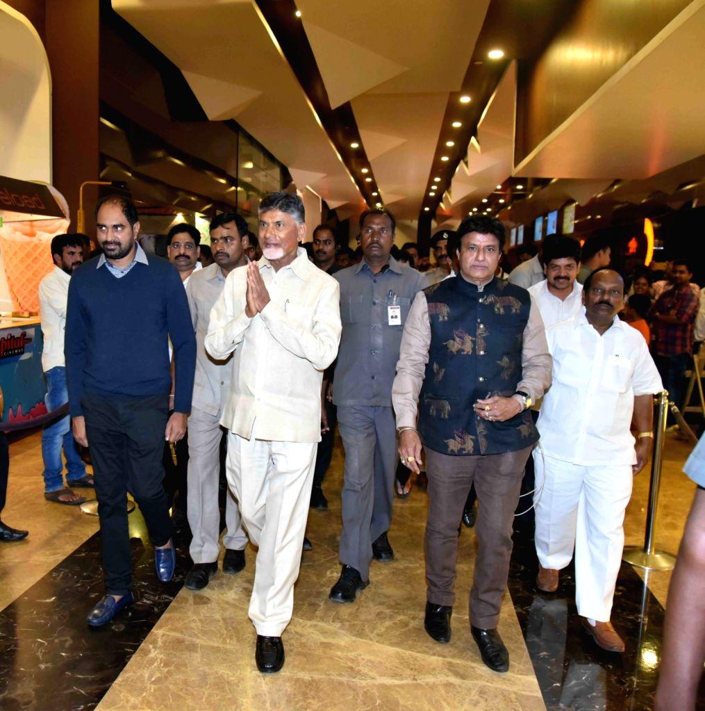 Andhra Pradesh Chief Minister N. Chandrababu Naidu, director Krish Jagarlamudi and actor Nandamuri Balakrishna arrive at the screening of Former Andhra Pradesh Chief Minister N. T. Rama ... - N. Chandrababu Naidu