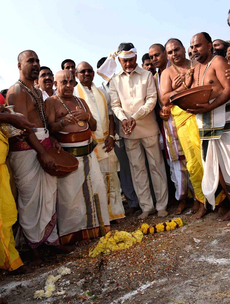 Andhra Pradesh Chief Minister N. Chandrababu Naidu lays foundation stone of Lord Venkateswara Swamy temple in Amravati on Jan 31, 2019. - N. Chandrababu Naidu