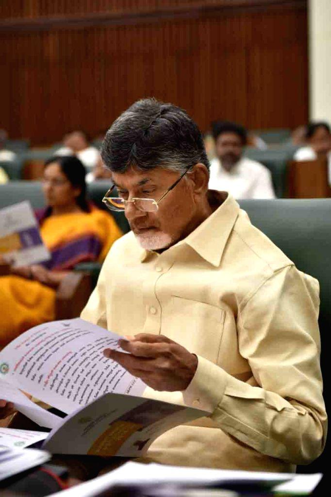 Andhra Pradesh Chief Minister N. Chandrababu Naidu during the Budget Session of the state assembly, in Vijayawada on Feb 5, 2019. - N. Chandrababu Naidu