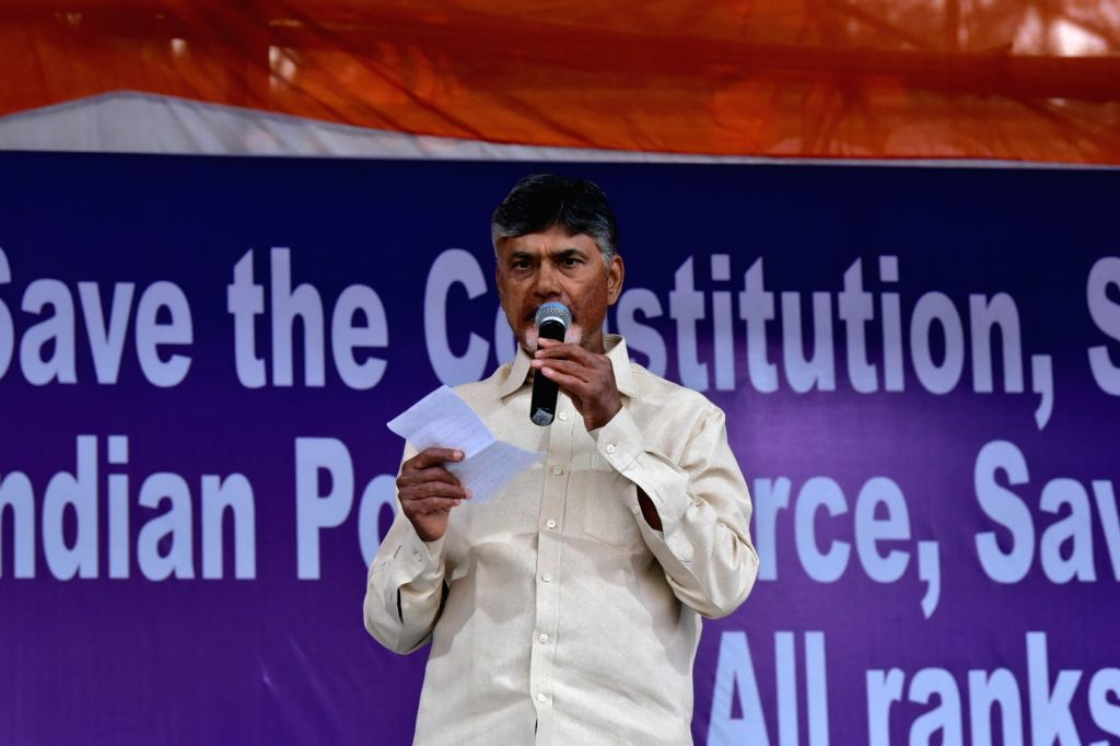 Andhra Pradesh Chief Minister N. Chandrababu Naidu addresses during West Bengal Chief Minister Mamata Banerjee's sit-in (dharna) demonstration over the CBI's attempt to question Kolkata ... - N. Chandrababu Naidu and Mamata Banerjee