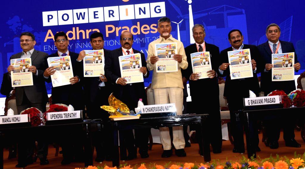 Andhra Pradesh Chief Minister N. Chandrababu Naidu during Andhra Pradesh Energy Innovation Summit 2019, in Vijayawada on Feb 7, 2019. - N. Chandrababu Naidu
