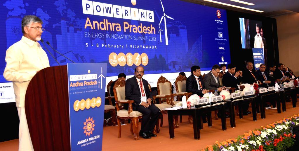 Andhra Pradesh Chief Minister N. Chandrababu Naidu addresses during Andhra Pradesh Energy Innovation Summit 2019, in Vijayawada on Feb 7, 2019. - N. Chandrababu Naidu