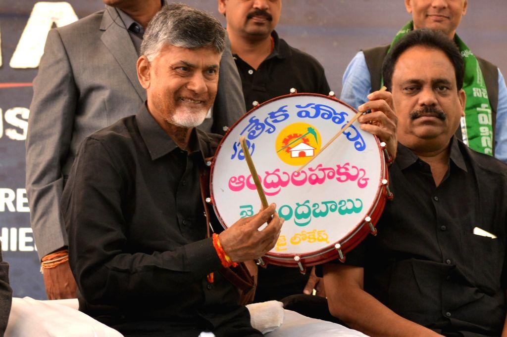 Andhra Pradesh Chief Minister N. Chandrababu Naidu, who is sitting on a fast to demand special category status for Andhra Pradesh at Andhra Bhawan, in New Delhi on Feb. 11, 2019. - N. Chandrababu Naidu
