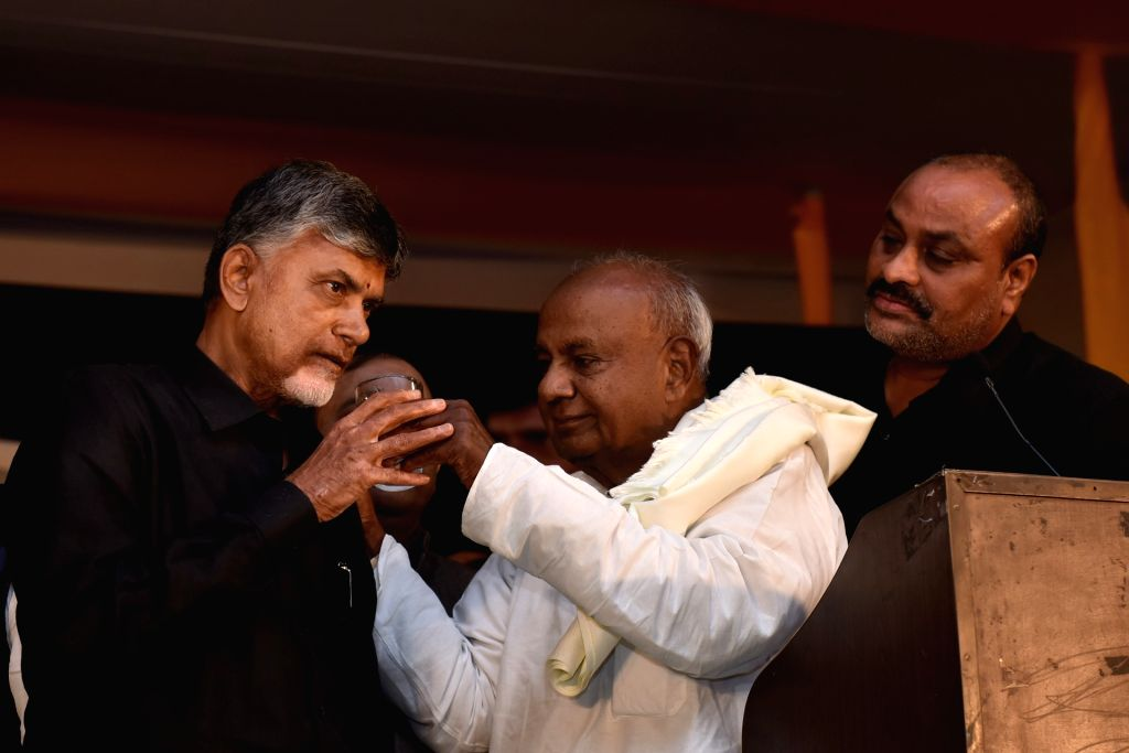 Andhra Pradesh Chief Minister N. Chandrababu Naidu breaks his fast, who began a 12-hour long fast demanding the Centre to accord special category status and fulfill other commitments made ... - N. Chandrababu Naidu