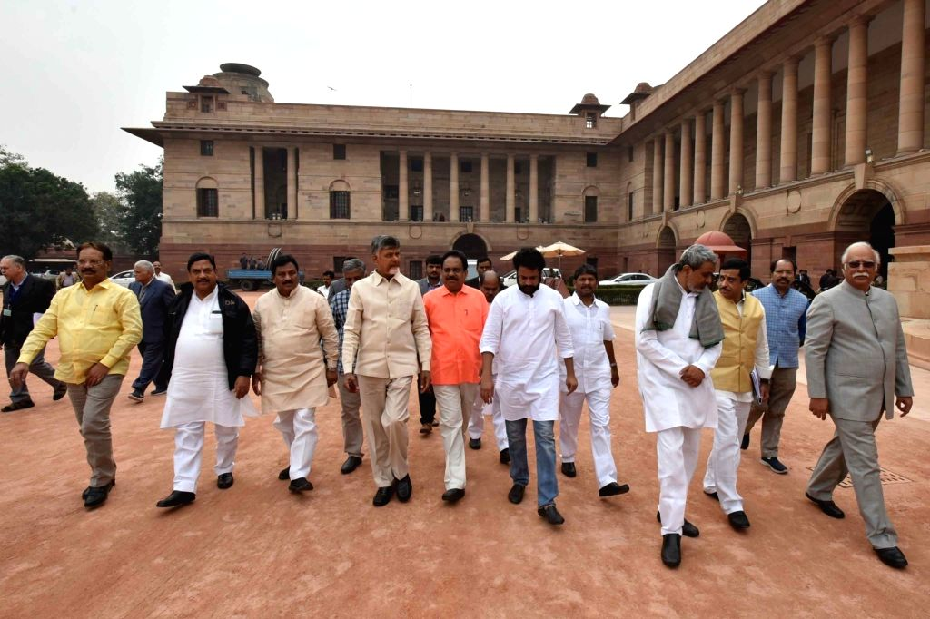 Andhra Pradesh Chief Minister N. Chandrababu Naidu at Rashtrapati Bhawan in New Delhi, on  Feb 12, 2019. - N. Chandrababu Naidu