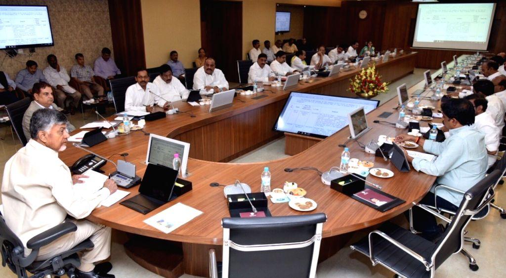 Andhra Pradesh Chief Minister N. Chandrababu Naidu during a cabinet meeting in Amaravathi on Feb 13, 2019. - N. Chandrababu Naidu